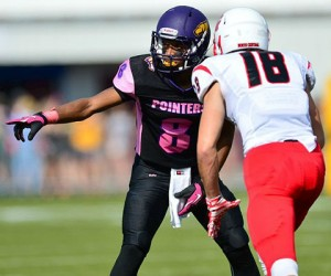 Deion Jones had two of UW-Stevens Point's four interceptions in Saturday's win. (Photo by Jack McLaughlin)