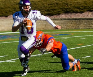 Andrew Robinson (three quarterback hurries, one sack) kept UW-Whitewater quarterback Matt Behrendt on the run Saturday. (UW-Platteville athletics photo)